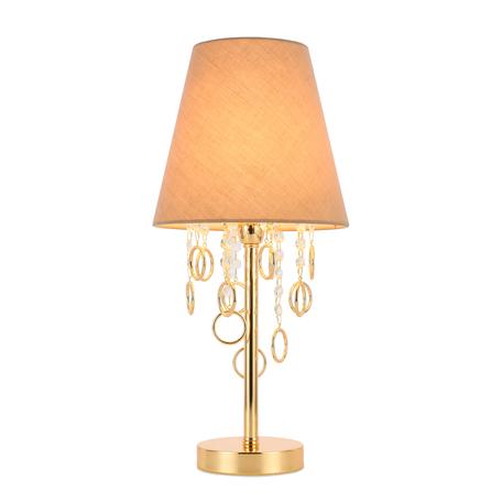 Настольная лампа Evoluce Meddo SL1138.204.01, 1xE14x40W, золото, бежевый, металл, текстиль, металл со стеклом