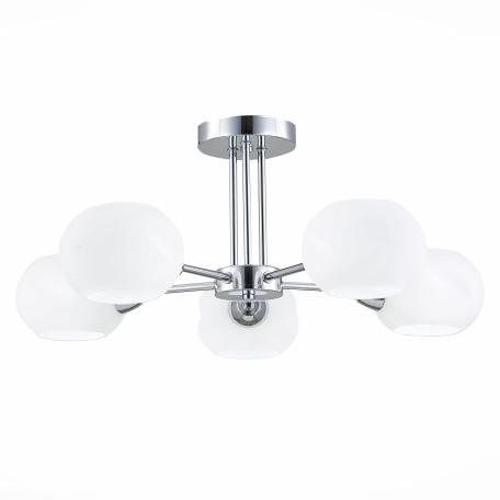 Потолочная люстра Evoluce Lanta SLE104302-05, 5xE14x40W, хром, белый, металл, стекло
