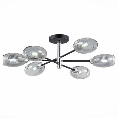 Потолочная люстра Evoluce Gloa SLE155512-06, 6xE14x40W, черный, дымчатый, металл, стекло