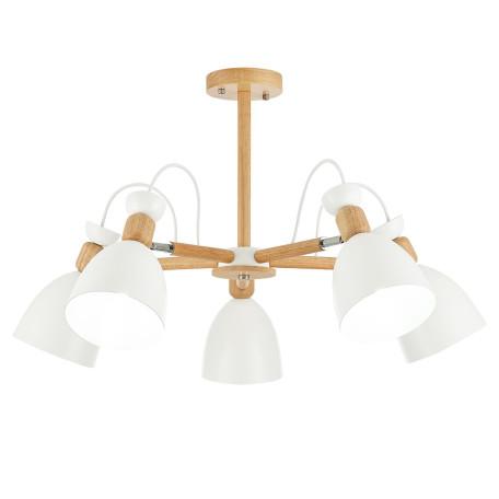 Потолочная люстра с регулировкой направления света Evoluce Balcamo SLE103802-05, 5xE27x60W, коричневый, белый, дерево, металл