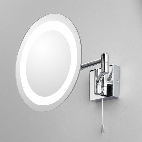 Косметическое зеркало с подсветкой и увеличением Astro Genova 1055001 (356), IP44, 1xG9x25W, хром, металл