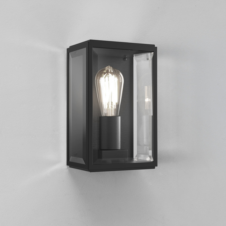 Настенный светильник Astro Homefield 1095001 (483), IP44, 1xE27x60W, черный, прозрачный, стекло