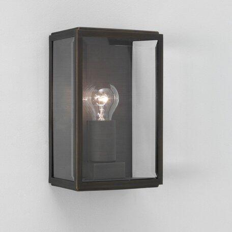 Настенный светильник Astro Homefield 1095002 (0562), IP44, 1xE27x60W, бронза, прозрачный, металл, стекло