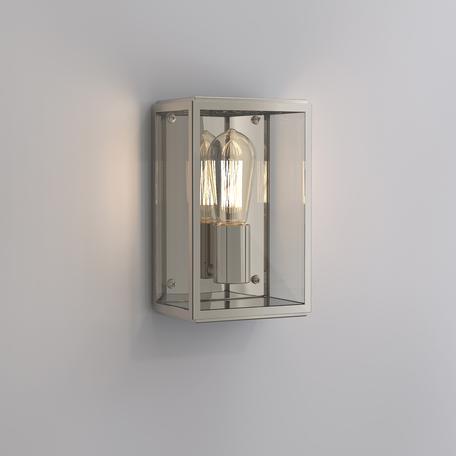 Настенный светильник Astro Homefield 1095003 (563), IP44, 1xE27x60W, никель, прозрачный, стекло