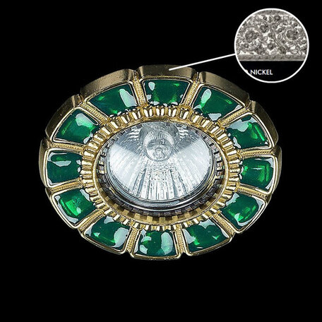 Встраиваемый светильник Artglass SPOT 51 GREEN NICKEL SALE, 1xGU10x35W, зеленый, никель, металл, стекло