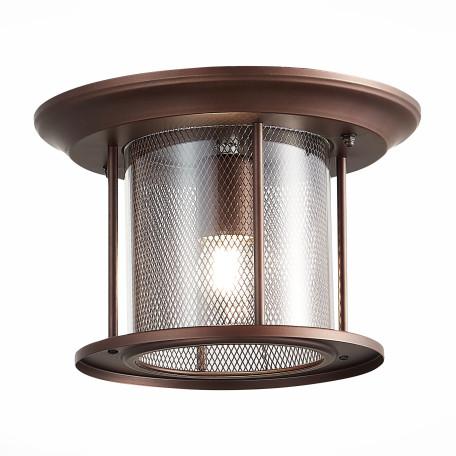 Потолочный светильник ST Luce Lastero SL080.402.01, IP54, 1xE27x60W, коричневый, прозрачный, металл, ковка, металл со стеклом