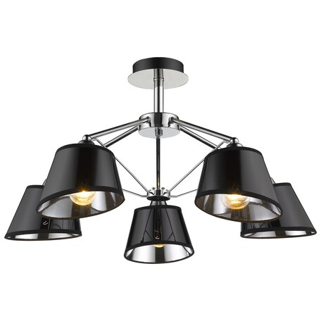 Потолочная люстра Velante 296-107-05, 5xE27x60W, хром, черный, металл, пластик