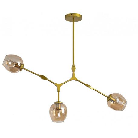 Люстра на составной штанге Kink Light Нисса 07512-3,33, 3xE27x40W, золото, янтарь, металл, стекло