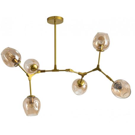 Люстра на составной штанге Kink Light Нисса 07512-6,33, 6xE27x40W, золото, янтарь, металл, стекло