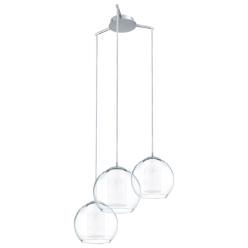 Люстра-каскад Eglo Bolsano 92762, 3xE27x60W, хром, белый, прозрачный, металл, стекло