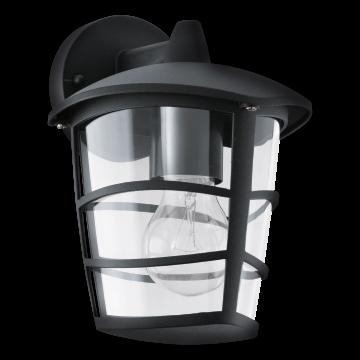 Настенный фонарь Eglo Aloria 93098, IP44, 1xE27x60W, черный, прозрачный, металл, металл со стеклом/пластиком
