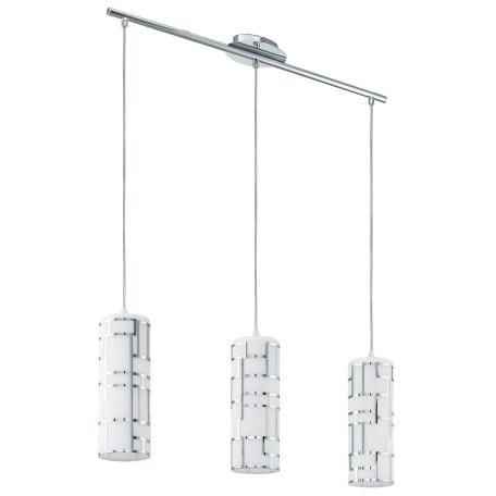 Подвесной светильник Eglo Bayman 92563, 3xE27x60W, хром, белый, металл, стекло