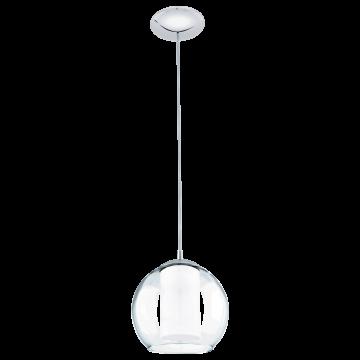 Подвесной светильник Eglo Bolsano 92761, 1xE27x60W, хром, белый, прозрачный, металл, стекло