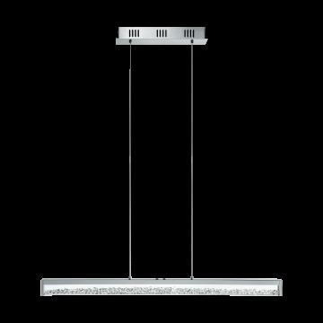 Подвесной светодиодный светильник Eglo Cardito 1 93626, LED 32W 2700-5000K 2500lm, хром, прозрачный, металл, металл с хрусталем