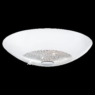 Потолочный светильник Eglo Ellera 92712, 2xE27x60W, хром, белый, прозрачный, металл, стекло, хрусталь