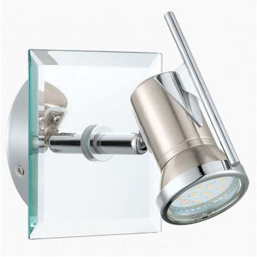 Настенный светильник с регулировкой направления света Eglo Tamara 1 31265, IP44, 1xGU10x2,5W, прозрачный, хром, никель, металл, стекло