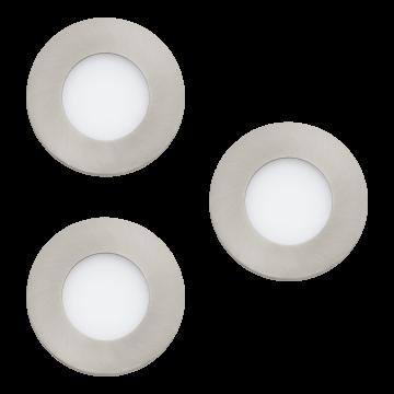 Встраиваемая светодиодная панель Eglo Fueva 1 94734, LED 8,1W 3000K 300lm, никель, металл с пластиком, пластик