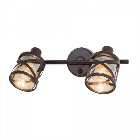 Настенный светильник с регулировкой направления света Citilux Гессен CL536625, 2xE14x60W, венге, янтарь, металл, металл со стеклом