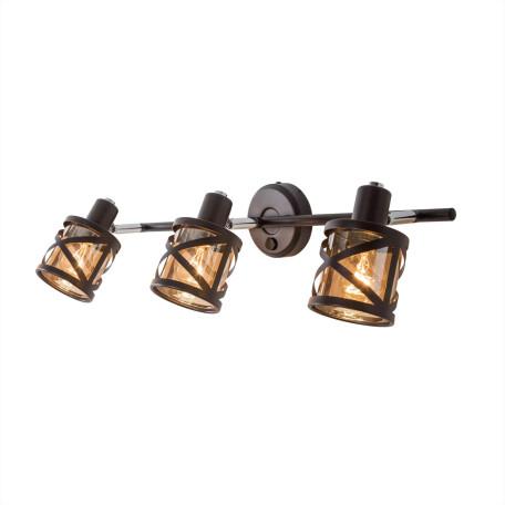 Настенный светильник с регулировкой направления света Citilux Гессен CL536635, 3xE14x60W, венге, янтарь, металл, металл со стеклом