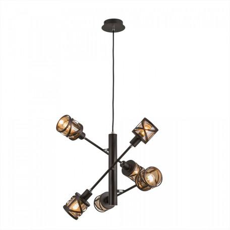 Подвесная люстра Citilux Гессен CL536165, 6xE14x60W, венге, янтарь, металл, металл со стеклом