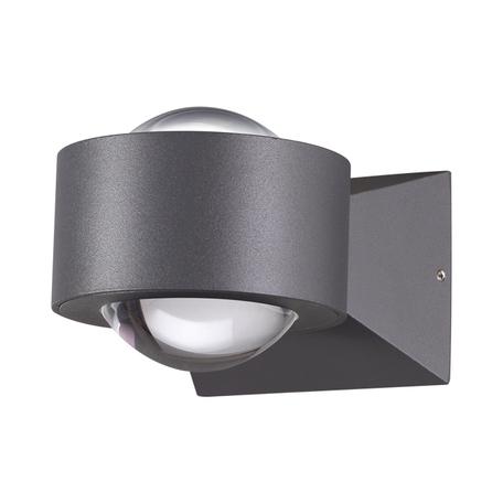 Настенный светодиодный светильник Novotech Calle 358154, IP54, LED 6W 4000K 600lm, серый, черный, металл, металл со стеклом