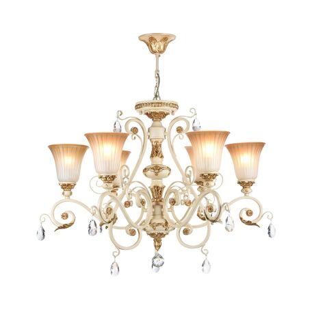 Потолочно-подвесная люстра Freya Symphony FR2333-PL-06-BG, бежевый, золото, коричневый, прозрачный, металл, стекло, хрусталь - миниатюра 1