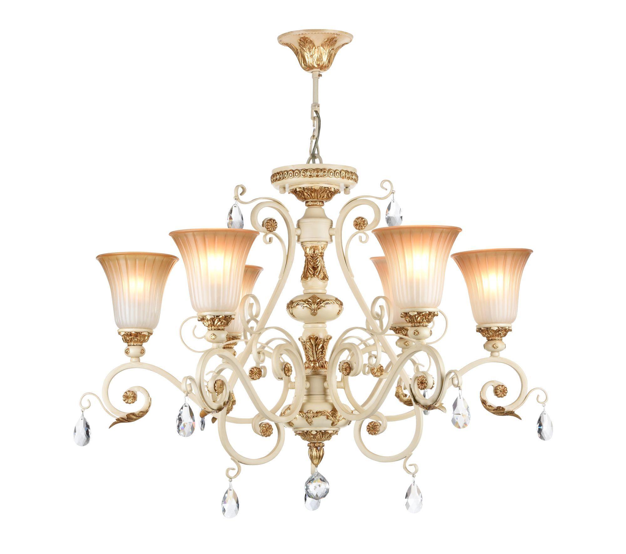 Потолочно-подвесная люстра Freya Symphony FR2333-PL-06-BG, бежевый, золото, коричневый, прозрачный, металл, стекло, хрусталь - фото 1