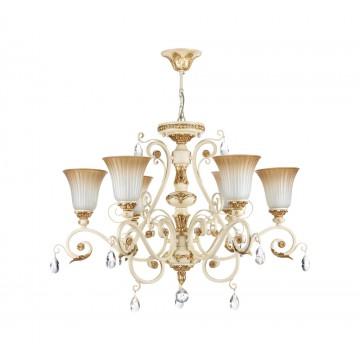 Потолочно-подвесная люстра Freya Symphony FR2333-PL-06-BG, бежевый, золото, коричневый, прозрачный, металл, стекло, хрусталь - миниатюра 2