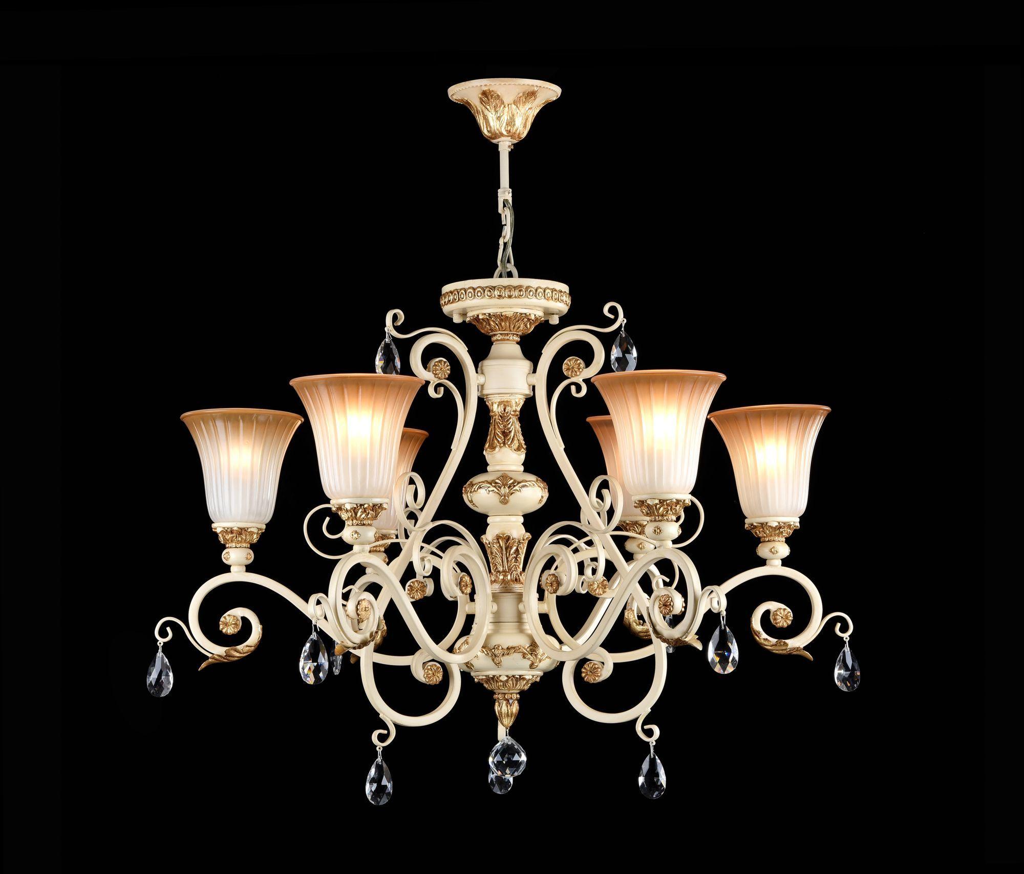 Потолочно-подвесная люстра Freya Symphony FR2333-PL-06-BG, бежевый, золото, коричневый, прозрачный, металл, стекло, хрусталь - фото 3