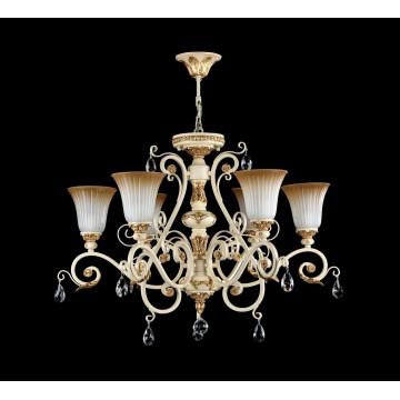 Потолочно-подвесная люстра Freya Symphony FR2333-PL-06-BG, бежевый, золото, коричневый, прозрачный, металл, стекло, хрусталь - миниатюра 4