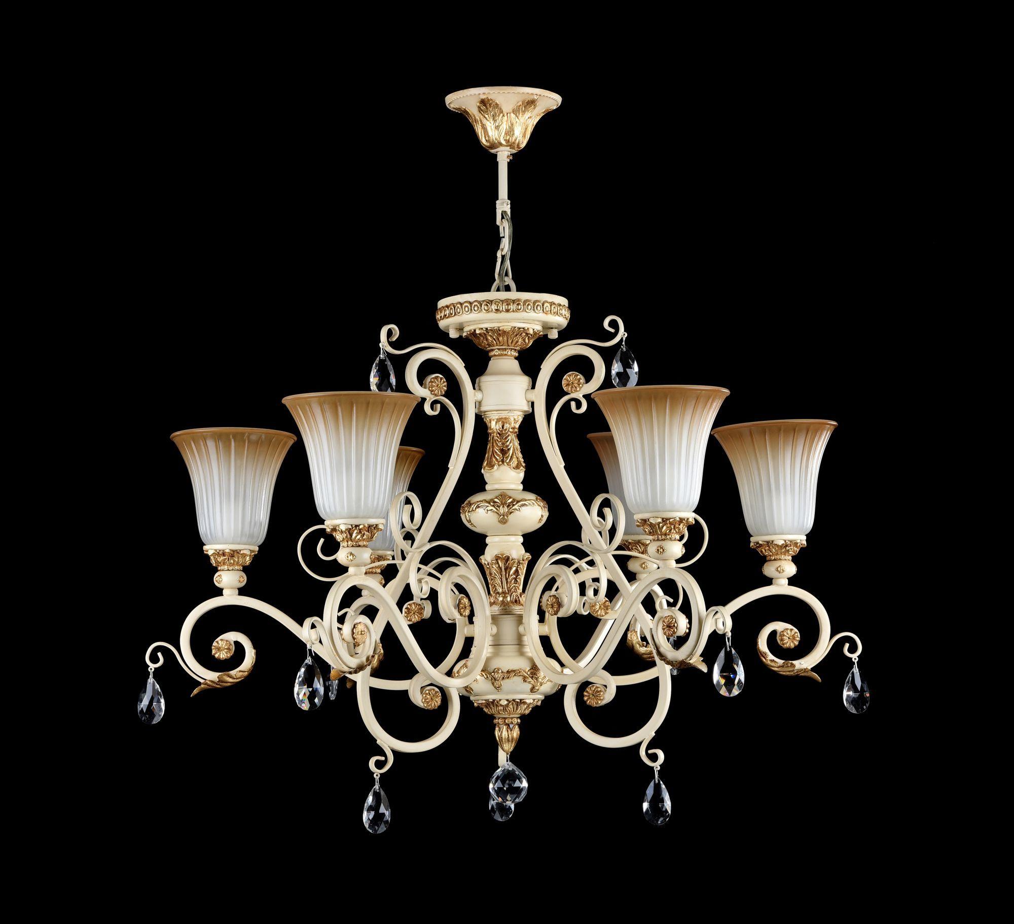Потолочно-подвесная люстра Freya Symphony FR2333-PL-06-BG, бежевый, золото, коричневый, прозрачный, металл, стекло, хрусталь - фото 4