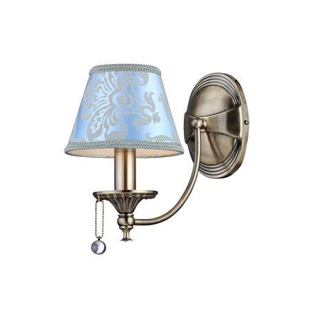 Бра Maytoni Vals RC098-WL-01-R (ARM098-01-R), 1xE14x40W, бронза, голубой, бронза с прозрачным, металл, текстиль, металл с хрусталем