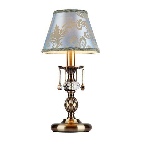 Настольная лампа Maytoni Vals RC098-TL-01-R (ARM098-22-R), 1xE14x40W, бронза, голубой, бронза с прозрачным, металл, текстиль, металл с хрусталем