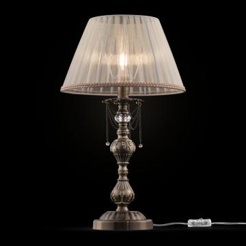 Настольная лампа Maytoni Rapsodi RC305-TL-01-R, 1xE14x40W, бронза, белый, металл со стеклом, текстиль
