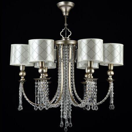 Подвесная люстра Maytoni Bience H018-PL-06-NG (dia018-06-ng), 6xE14x40W, серебро, бежевый, прозрачный, металл, текстиль, стекло