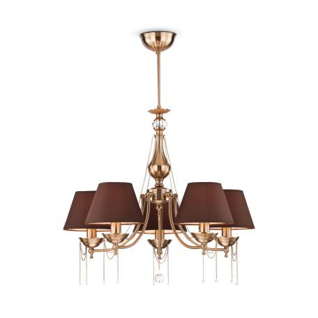 Подвесная люстра Maytoni Chester RC0100-PL-05-R (cl0100-05-r), 5xE14x60W, латунь, прозрачный, коричневый, металл, стекло, текстиль