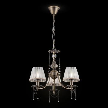 Подвесная люстра Maytoni Royal Classic Rapsodi RC305-PL-03-R (arm305-03-r), 3xE14x40W, бронза, белый, прозрачный, металл, текстиль, металл со стеклом - миниатюра 2