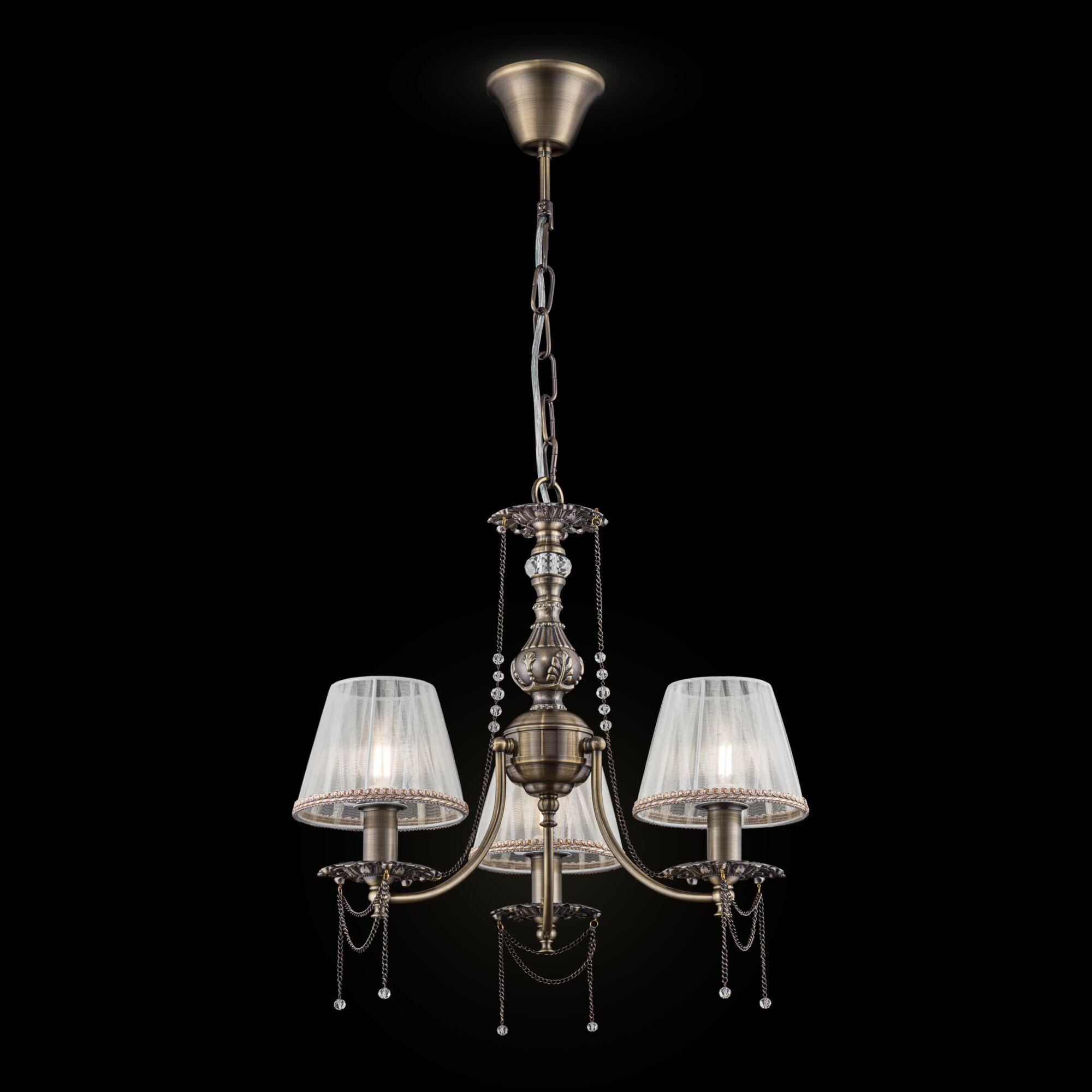 Подвесная люстра Maytoni Royal Classic Rapsodi RC305-PL-03-R (arm305-03-r), 3xE14x40W, бронза, белый, прозрачный, металл, текстиль, металл со стеклом - фото 2