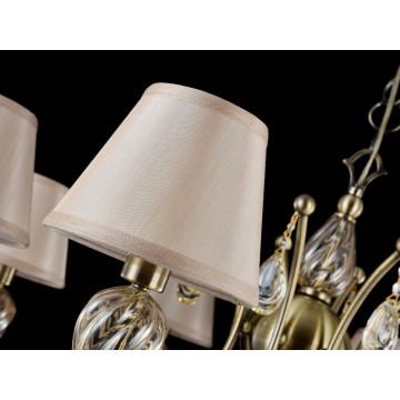 Подвесная люстра Maytoni Royal Classic Murano RC855-PL-08-R (arm855-08-r), 8xE14x40W, бронза, коньячный, бежевый, металл со стеклом, текстиль, хрусталь - миниатюра 5