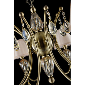 Подвесная люстра Maytoni Royal Classic Murano RC855-PL-08-R (arm855-08-r), 8xE14x40W, бронза, коньячный, бежевый, металл со стеклом, текстиль, хрусталь - миниатюра 6