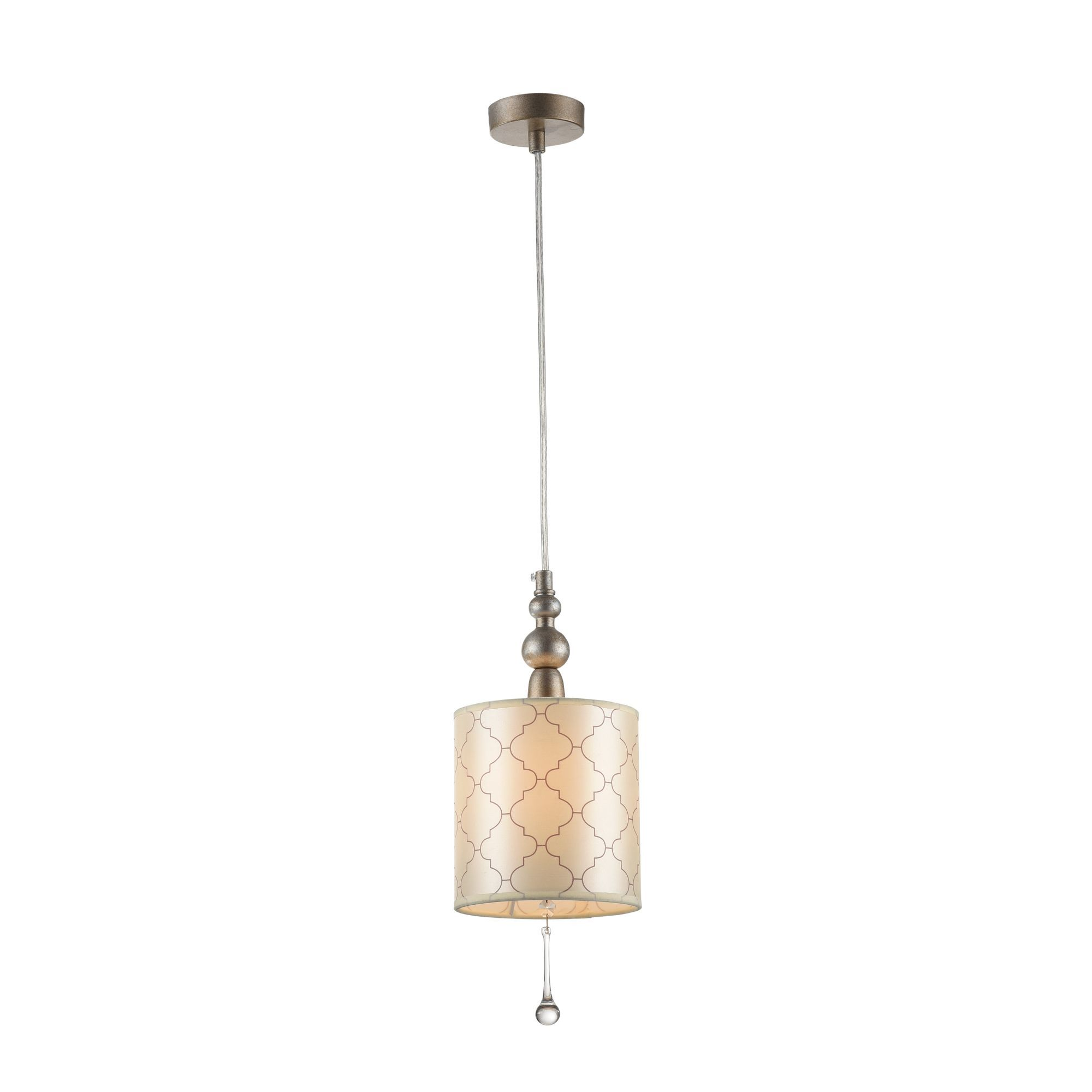 Подвесной светильник Maytoni Bience H018-PL-01-NG (dia018-22-ng), 1xE14x40W, серебро, бежевый, прозрачный, металл, текстиль, хрусталь - фото 1