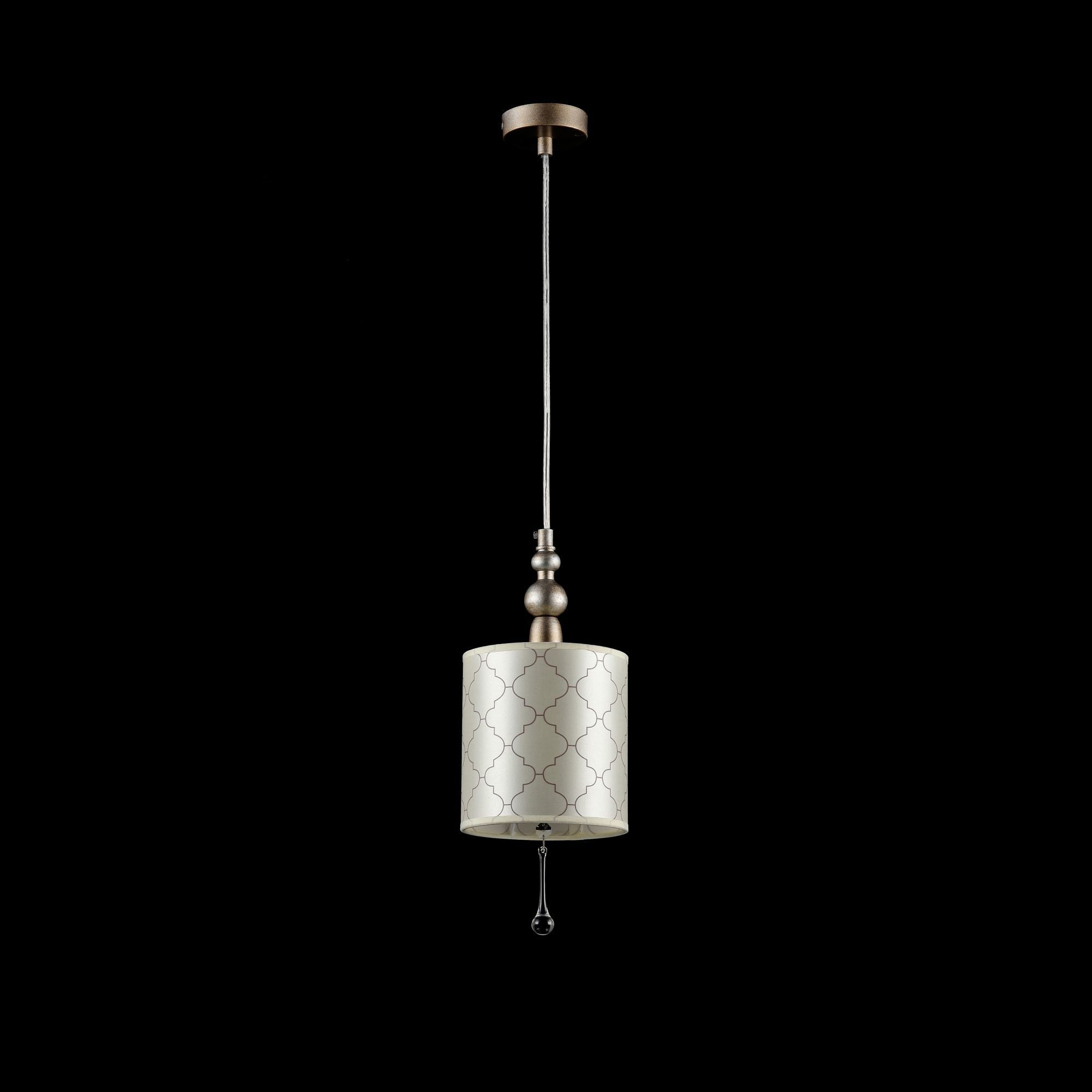 Подвесной светильник Maytoni Bience H018-PL-01-NG (dia018-22-ng), 1xE14x40W, серебро, бежевый, прозрачный, металл, текстиль, хрусталь - фото 2