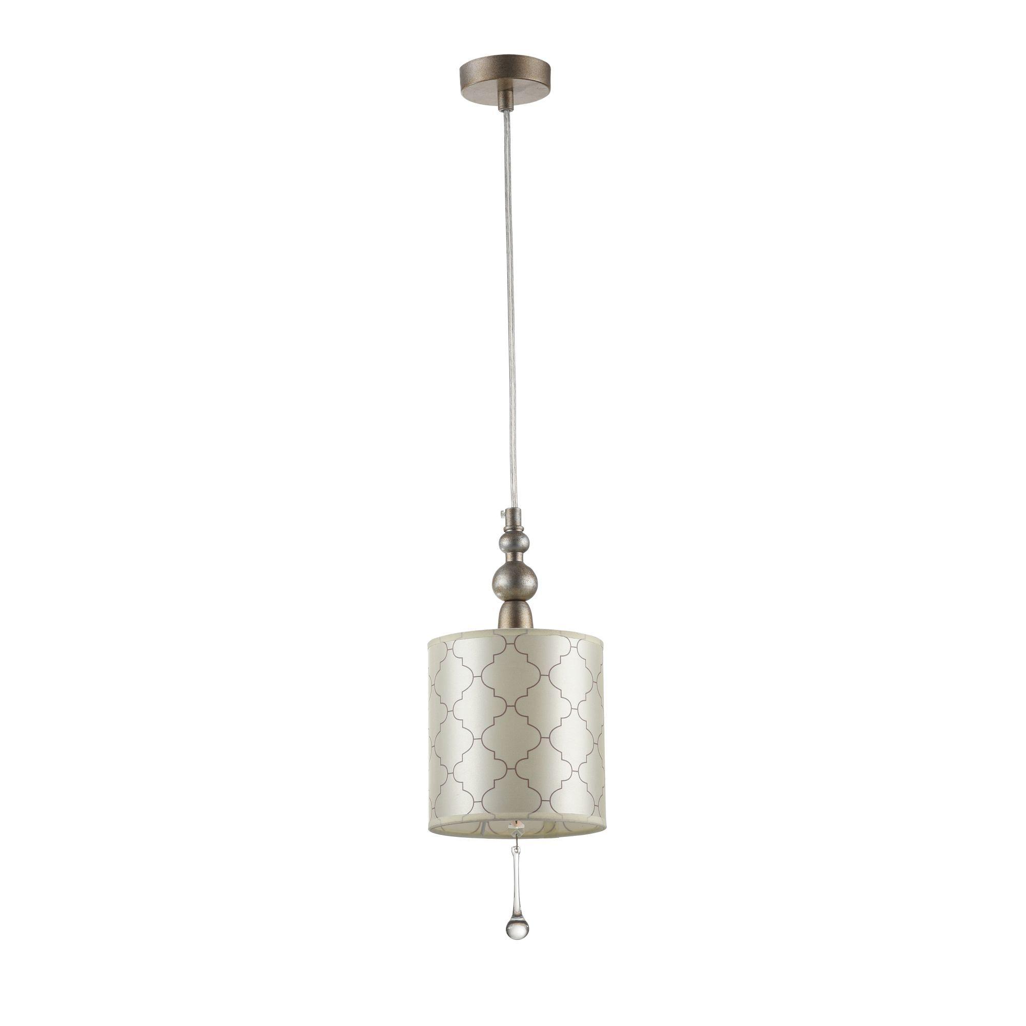 Подвесной светильник Maytoni Bience H018-PL-01-NG (dia018-22-ng), 1xE14x40W, серебро, бежевый, прозрачный, металл, текстиль, хрусталь - фото 3