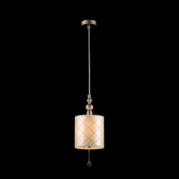 Подвесной светильник Maytoni Bience H018-PL-01-NG (dia018-22-ng), 1xE14x40W, серебро, бежевый, прозрачный, металл, текстиль, хрусталь - миниатюра 4