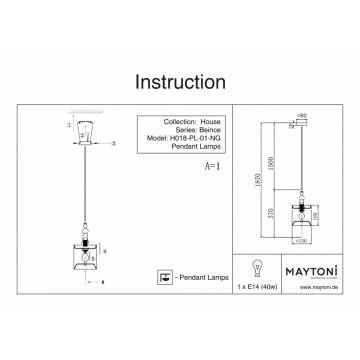 Схема с размерами Maytoni H018-PL-01-NG