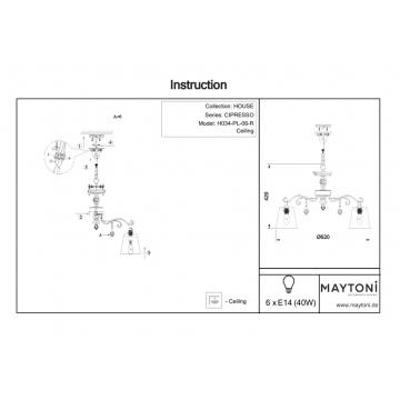 Схема с размерами Maytoni H034-PL-06-R