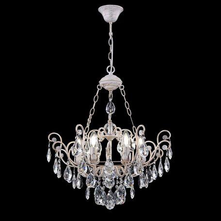 Подвесная люстра Freya Crystal Veronica FR1002PL-06WG, 6xE14x40W, белый с золотой патиной, прозрачный, металл, стекло