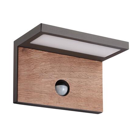 Настенный светодиодный светильник Mantra Ruka 6774, IP54, LED 15W 3000K 1120lm, коричневый, серый, белый, металл со стеклом/пластиком, металл
