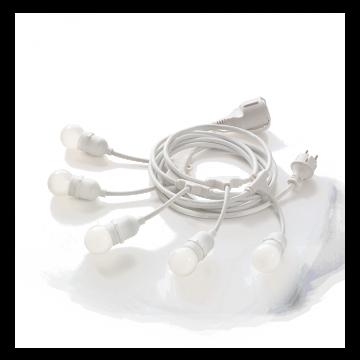 Гирлянда Ideal Lux FIESTA SP5 BIANCO 218724, IP44, 5xE27x15W, белый, пластик