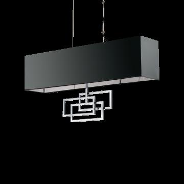 Подвесной светильник Ideal Lux LUXURY SP6 CROMO 219721, 6xE14x40W, хром, черный, металл, текстиль